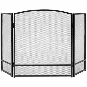BCP-3-Panel-47x29in-Simple-Steel-Mesh-Fireplace-Screen-w-Rustic-Worn-Finish