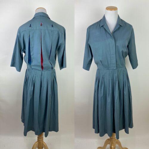*FLAWS* VTG 50s NORMAN WIATT Shirtwaist Dress M /