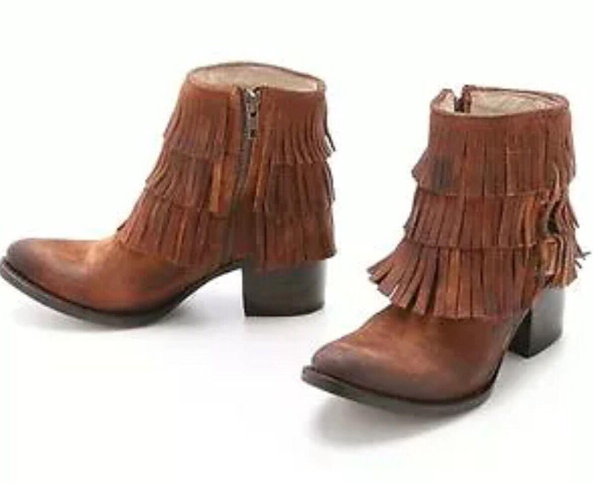 Freebird por Steven Belle Fringe botaie botas botas botas De Gamuza Western Mocasín Bronceado Boho 7  tienda de descuento