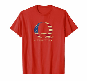 QAnon WWG1WGA Q Anon Great Awakening MAGA USA Flag Design T-Shirt Birthday Gift