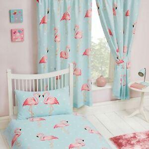 Fifi-Flamant-Rose-Bleu-Turquoise-Rideaux-Double-66-034-x-72-034-Enfants-Filles