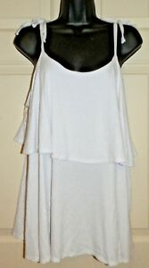 bbdc09951213a Details about New Womens 2XL 20 White Ribbed Tiered Tie Shoulder Tank Top  Cami Time   Tru