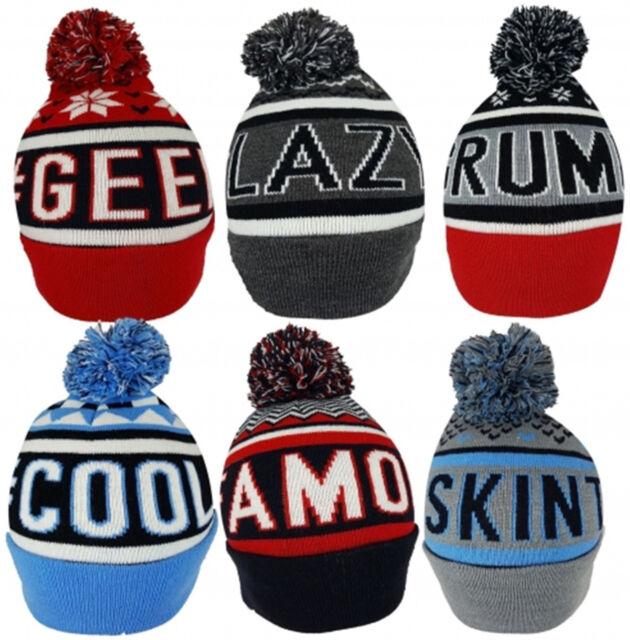 e3c55eeddc0 Adults Mens Hats  Hashtag Slogan Ski Bobble Beanie Hat  Grumpy   Cool   Lazy