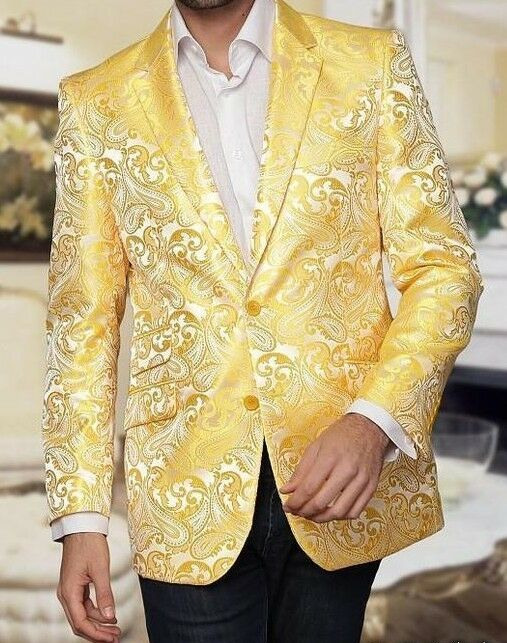 Men Men Men Blazer Manzini Insomnia Fashion Sport Jacket Paisley Musiker Gelb mzs140 213
