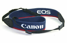 CANON BRANDED CANVAS STRAP (Blue with white and red trim).