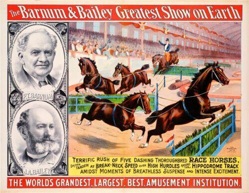 1895 Barnum /& Bailey Horses Vintage Circus Advertisement Art Poster Print