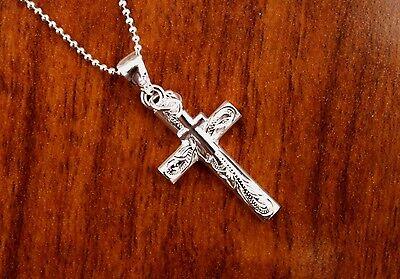 Hawaiian 925 Sterling Silver Scroll Double Jesus Cross Pendant Necklace ESP2908