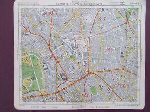 London Vintage Camden Town Clerkenwell Islington Bacons 1949 Map
