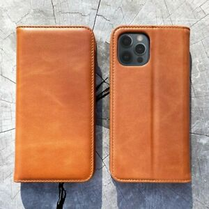 Novada Genuine Leather iPhone 12 Case with Credit Card Wallet & Stand