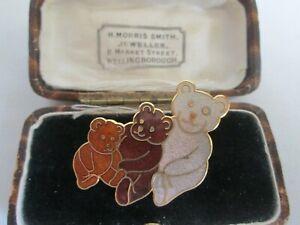 VINTAGE-SIGNED-FISH-22ct-GOLDPLATED-CLOISONNE-ENAMEL-TEDDYBEAR-BROOCH-PIN