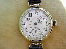 WW1 OFFICER'S TRENCH WATCH WITH RARE 24-HOUR DIAL & ARTICULATED LUGS, SERVICED