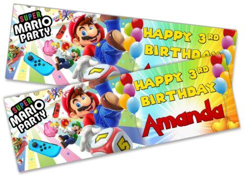 Details about  /x2 Personalised Birthday Banner Super Mario Children Kids Party Decoration 5