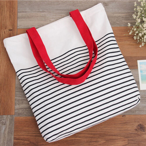 Zippered Stripe Canvas Shopping Tote Shoulder Bag Eco Reusable Bag 8C