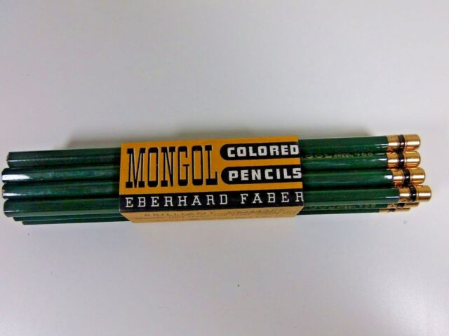 Vintage 12 Eberhard Faber Mongol Colored Pencils Dark Green 968 New In Sleeve
