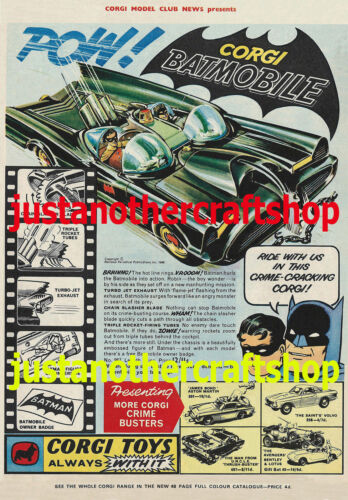 Corgi Toys Batman Batmobile 267 1966 Large Size A3 Poster Advert Leaflet Sign