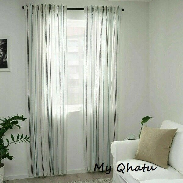 ikea adelspinnare curtains 1 pair 2 panels white stripe 57 x 98
