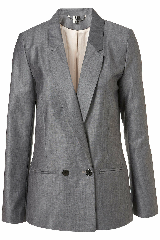 Topshop Premium grau Tonic Blazer jacke Outerwear Coat UK 10 EURO 38 US 6 BNWT