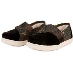 e29811af1dc Toms Shoes Tiny Toms  Classics Black Metallic Velvet Flats Toddler ...