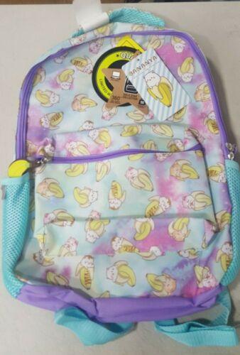 "Purple Turquoise Bananya Crunchyroll 16/"" Kids/' Backpack NEW"