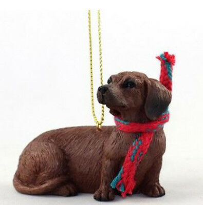 """LARGE 3"""" DACHSHUND (RED) DOG CHRISTMAS ORNAMENT HOLIDAY Figurine Scarf  gift"""