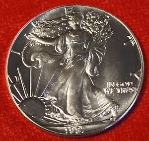 1987 AMERICAN SILVER EAGLE DOLLAR 1 oz .999% BU GREAT COLLECTOR COIN GIFT