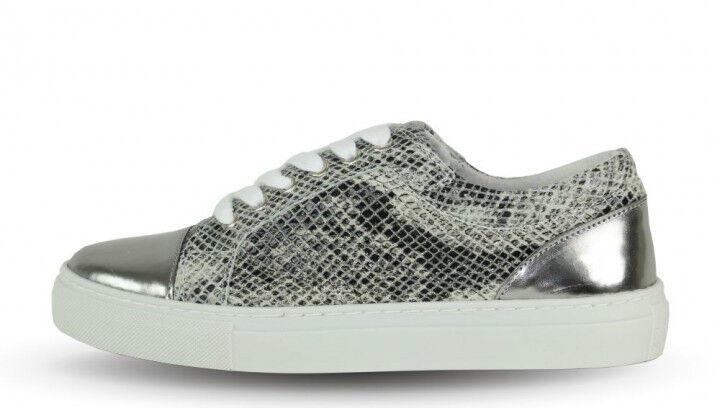Boom Bap Damens Sneaker - Shun0056 Snake/Croco 650 Weiß/silber +NEU+