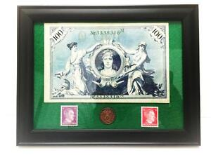 German-Rare-2-Rp-Coin-with-Stamp-amp-100-Mark-Bill-in-Disp-frame