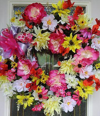 "Spring Summer Floral Door WREATH DIVA ""Strawberry Lemonade"" Mother's Day Pink"