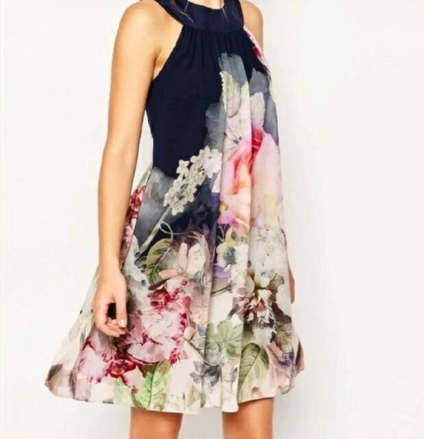 TED BAKER Floral Shift Cocktail Dress 12|L Blue Pink Sleeveless Party NWT