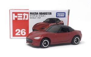 Tomica-DieCast-Modellauto-1-57-Nr-26-Mazda-Roadster-rot-2015-Takara-Tomy