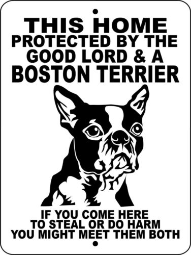 BOSTON TERRIER ALUMINUM DOG SIGNS 9 x 12 vinyl 651