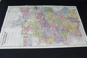 alte-Karte-Deutsche-Eisenbahn-und-Verkehrs-Handkarte-old-vintage-Sammler