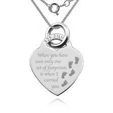 Footprints In The Sand Heart Shaped Necklace/Pendant, 925 Sterling Silver