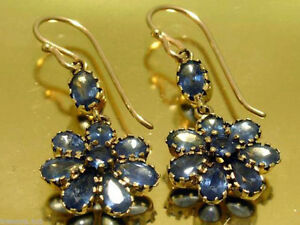 CE127-Genuine-9K-Yellow-Gold-Natural-Sapphire-Blossom-Vintage-DROP-Earrings