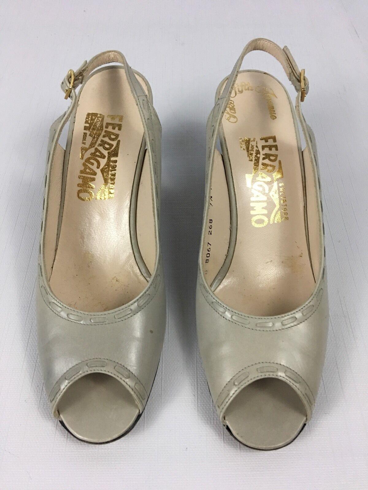 Women's Vintage Ferragamo Salvatore Ferragamo Vintage Gray Open Toe Slingback Heel Pumps 7.5 AAA 957d06