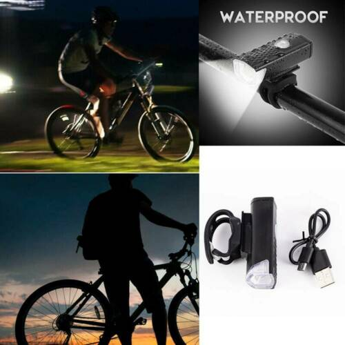 Bike Bicycle Cycling USB Rechargeable LED Head Front Light Rear Tail Lamp US