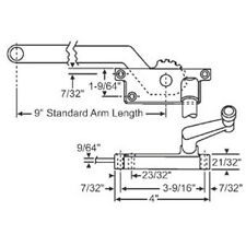 """STB Casement Window Operator, Sill Mounted, Right Hand, Beige, 9"""" Long Arm"""