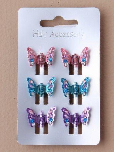6 mini pinces papillon noir écaille de tortue COULEURS ASSORTIES PAILLETTES STRASS