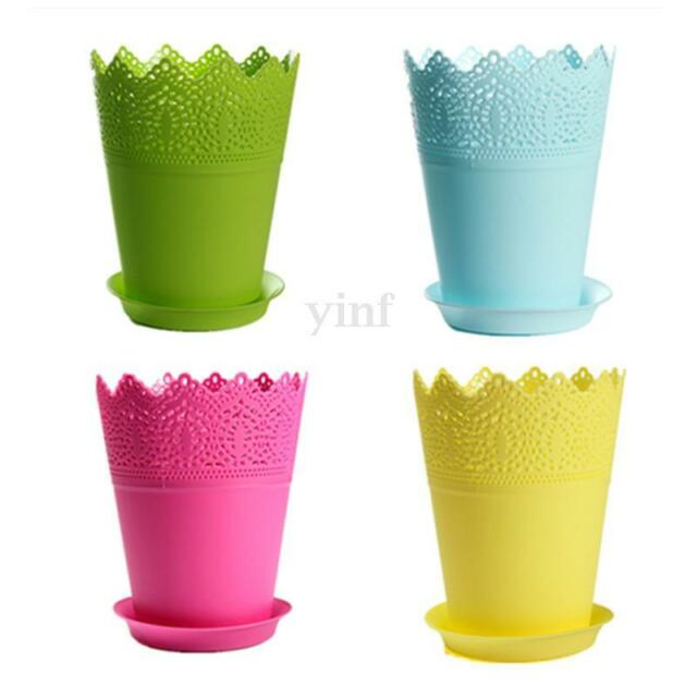 Colorful Flower Planter with Tray Home Office Decor Crown Lace Plastic Plant Pot