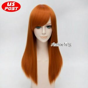 Details about Kim Possible Orange Straight Long Basic Hair Halloween Anime Cosplay  Wig 55CM 86e840902