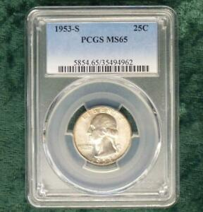 1953-S-PCGS-MS-65-Washington-Silver-Quarter-Gem-MS-65-Silver-25-Cent-Coin