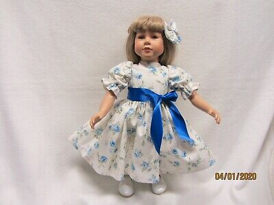 "RED POPPIES Dress fits 23/"" My Twinn doll /& matching bow barrette"