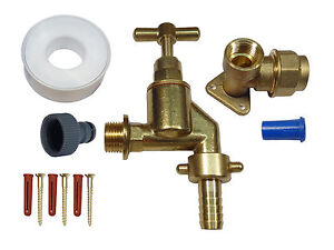20mm MDPE Outside Tap Kit With Heavy Duty Tap, Brass Wall Plate & Hose Fitting