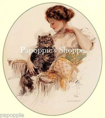 Harrison Fisher Girl with Cat Edwardian Fabric Block Image printed onto Fabric