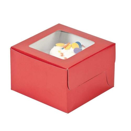 """1//2/"""" x 3/"""" x 4 1//2/"""" 12 Pack Red Cupcake Boxes Cardboard"""