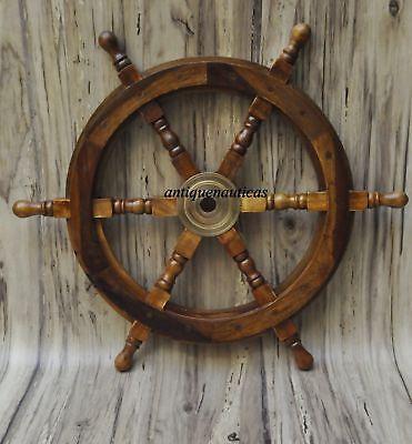 Nautical Wooden Ship Steering Wheel Pirate Decor Wood Brass Fishing Wall Boat Ebay
