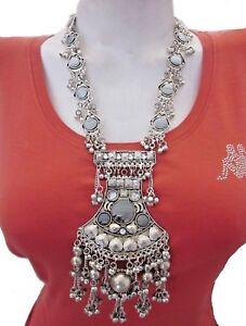 Statement-Long-Necklace-Gypsy-Boho-Hippie-Tribal-Kuchi-Vintage-Fashion-Jewelry