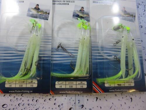 3 LUMI GUMMI TUBE SEA RIGS 3 HOOK sz 1//0 BOAT SEA FISHING MACKEREL COD POLLACK