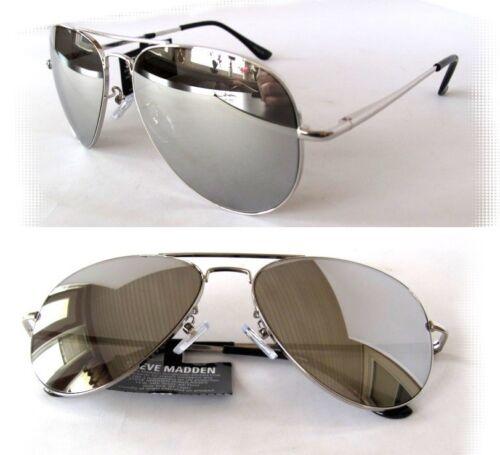 New Steve Madden Unisex Sunglasses SM472101 Silver//Silver mirror tiny defect