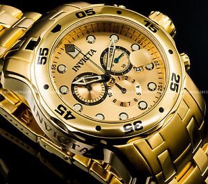 New-Invicta-Pro-Diver-Scuba-18K-Gold-Plated-Gold-Dial-Chrono-S-S-Bracelet-Watch